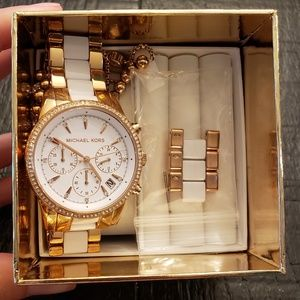 Michael Kors Ritz Rose and White Chronograph watch